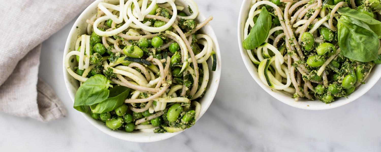 sorghum gluten free spaghetti bowls vegan kale pesto and peas